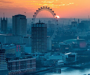 london, city, and sunset image