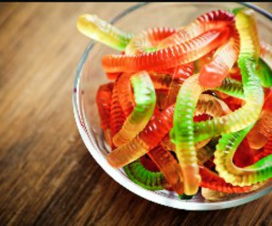 gummy worms, candy, and sweet image
