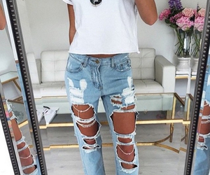 jeans, girly, and outfit image