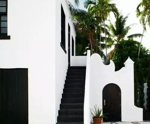 house, black, and white image