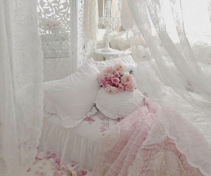 bedroom, lace, and pink image