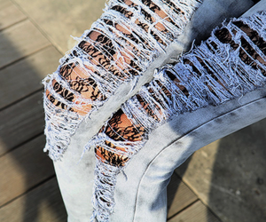 jeans, fashion, and lace image