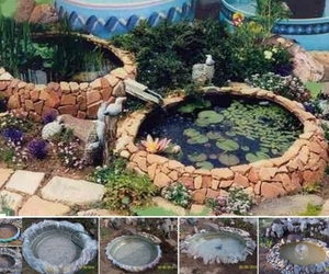 diy, garden, and pond image