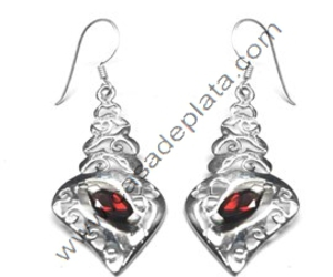 garnet, gemstone silver earring, and silver ring image