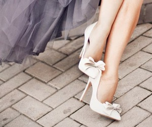 bow, white, and heels image