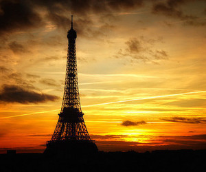 paris, eiffel tower, and sunset image