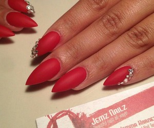 nails, red nails, and stiletto nails image