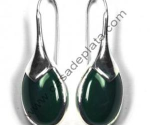 silver earring, gemstone earring, and green onyx image