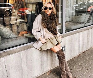 fur, overknee boots, and street style image
