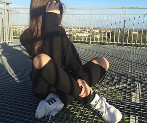girl, black, and adidas image