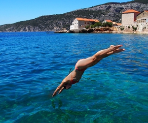 blue sea, summer, and swimming image