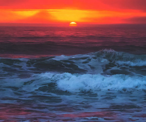 sunset, ocean, and water image