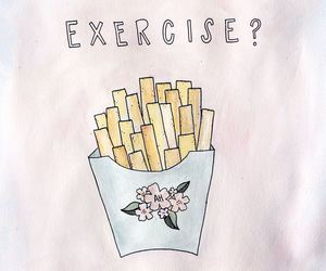 fries, exercise, and funny image