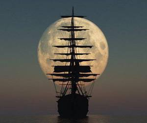 moon, ship, and sea image