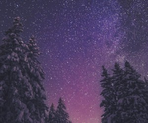 night, sky, and snow image