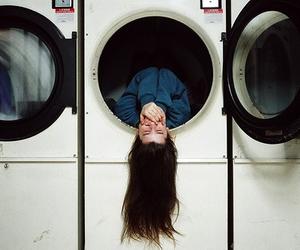 girl, hair, and washing machine image