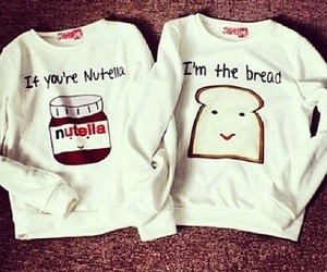 nutella, bread, and couple image