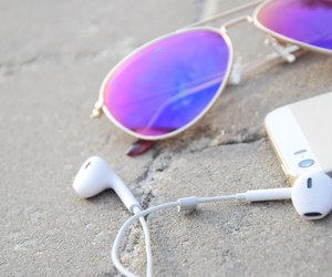 earphones, gold, and summer image
