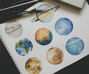 art, planet, and drawing image