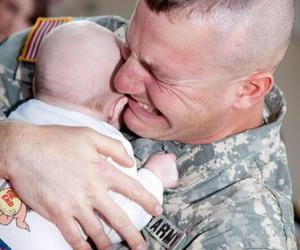 baby, army, and father image
