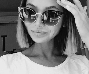 black and white, girl, and style image