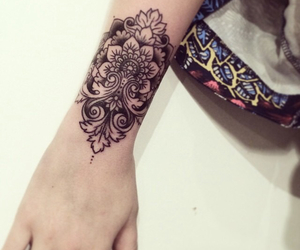 mandala, tattoo, and wrist tattoo image