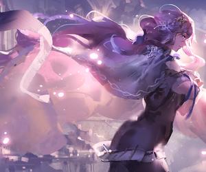 anime girl, long hair, and veil image