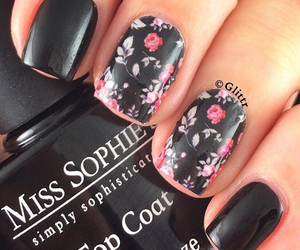 black, flowers, and nail art image