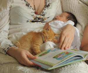 baby and cat image