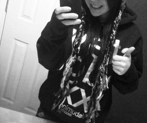 bathroom, black and white, and hoodie image