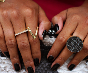 black, gold, and jewelry image