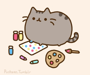 pusheen and paint image