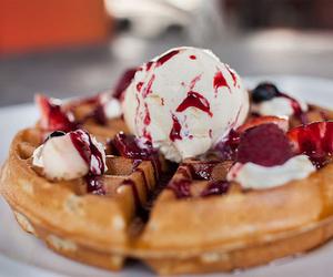 waffles, ice cream, and sweet image