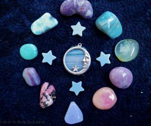moon, stars, and stone image