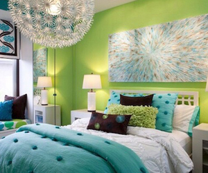 bedroom, room, and green image