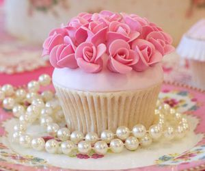 cupcake, pearls, and sweet image