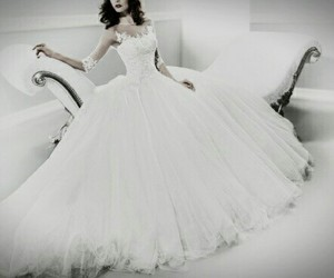 beautiful, black and white, and dress image
