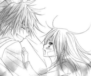 black and white, girl, and anime couple image