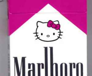 hello kitty, pink, and cigarette image