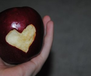 apple, hand, and heart image