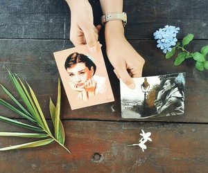 audrey, audrey hepburn, and flowers image