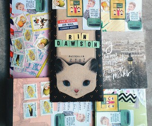 cat, letters, and stamps image