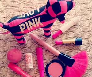 pink, makeup, and lip balm image