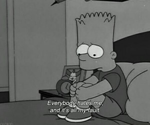 alone, bart simpson, and hate image