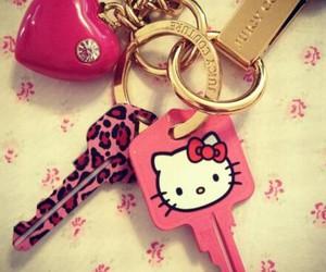 hello kitty, keys, and pink image