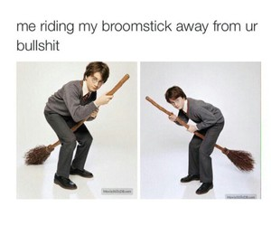 broomstick, funny, and harry potter image