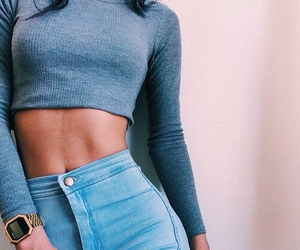 <3, golden, and high waisted jeans image
