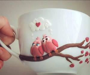 cup, bird, and love image