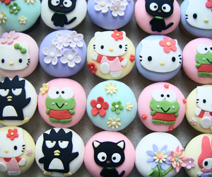 cupcake, hello kitty, and flowers image