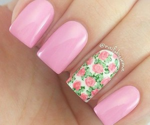 art, nails, and flowers image